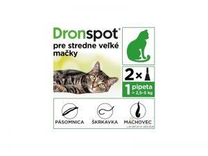 DRONSPOT Spot-on pre stredne veľké mačky (2,5 - 5 kg) 0,7 ml 2 pipety
