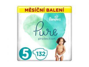 PAMPERS Pure Protection 5 (11-16 kg) 132 ks - jednorázové plienky